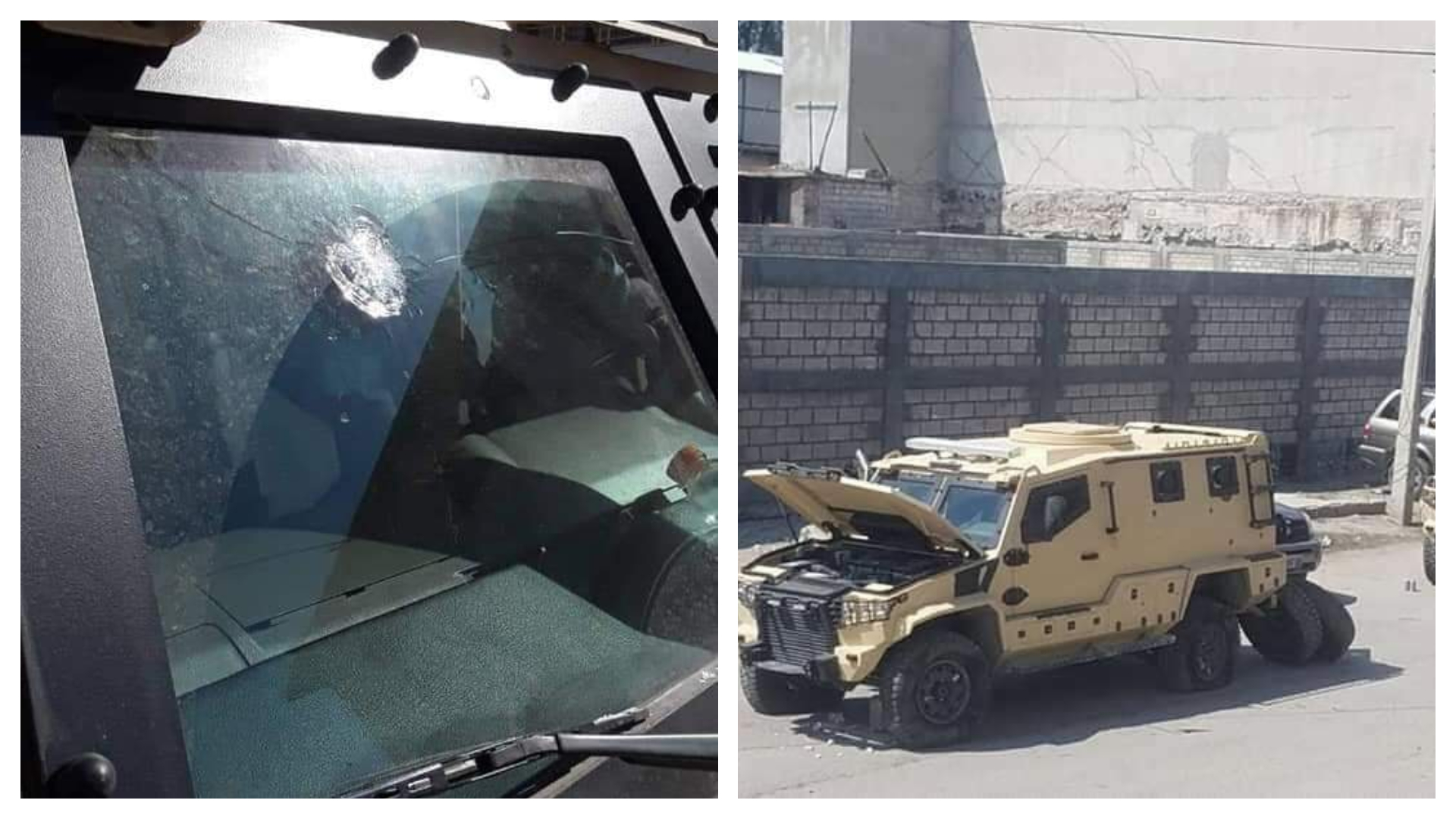 Photo: Bullet hole on the windshield of Haiti new police armored vehicle
