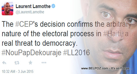 Haiti - Laurent Lamothe Tweet: CEP Decision a Real Threat to Democracy
