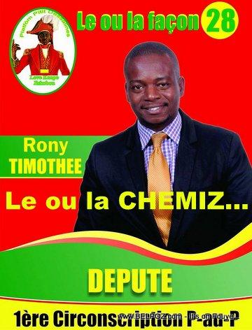Poster Timothee Rony - Candidat Depute - Gade bel Chemiz ak Kol Misye LOL