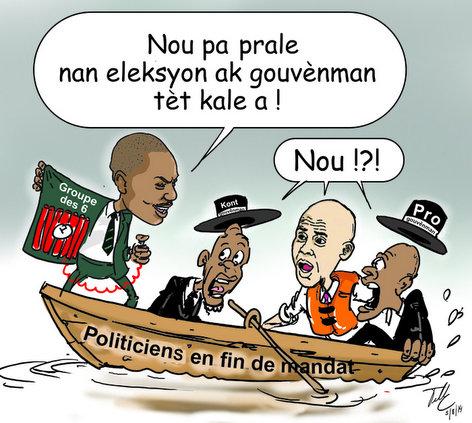 Haiti Caricature - Group 6 Senatè yo pap ale nan Eleksyon ak Gouvenman Tet Kale a