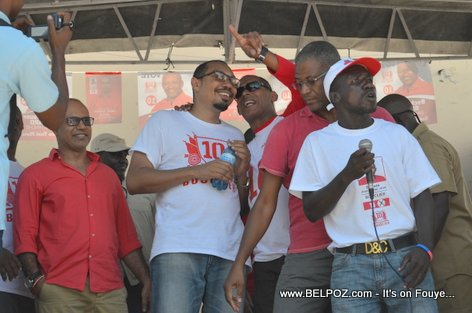 Steeve Khawly, Jean Junior Jiha on stage - Bouclier Election Campaign Hinche Haiti