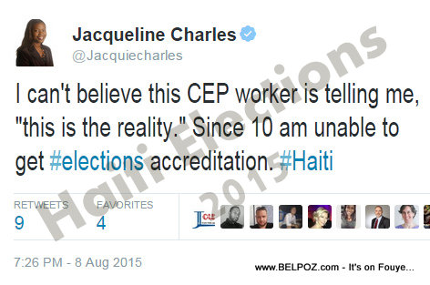 Tweet from Miami Herald Reporter - No acreditation Haiti Elecitons