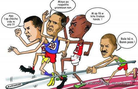 Haiti Caricature - Kandida Newton Saint Juste ap Vide Neg Ate Pou-l Pase