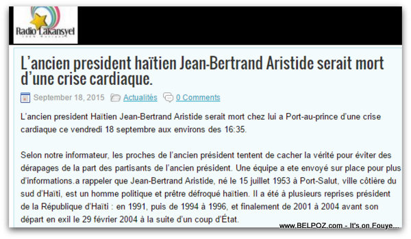 Snapshot: Haiti Radio Article - Aristide Mort Crise Cardiac