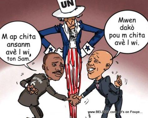Haiti Caricature - Senatè Moise Jean Charles ak President Martelly ap negosye, Tonton Sam ap veye yo LOL...