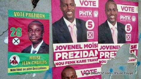 PHOTO: Haiti Elections Posters - Moise Jean Charles, Moise Jovenel, KI MOISE w ap Vote???