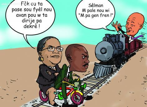 Haiti Caricature - President Martelly sou Train li, Mirlande Manigat ak Moise Jean Charles kanpe nan mitan wout li...