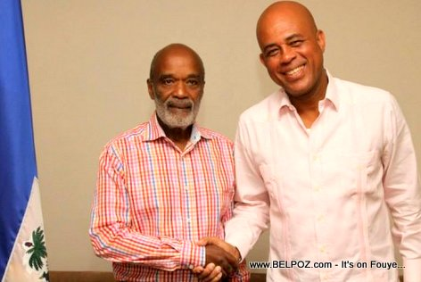 PHOTO: Haiti - President Martelly meets President Rene Preval at the Palace