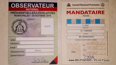 Haiti Elections - Acceditations Mandataire, Observateur National