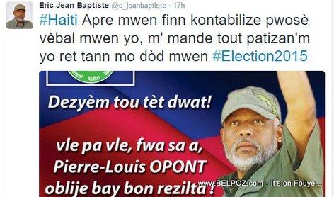 PHOTO: Haiti Elections - Eric Jean Baptiste di dezyem Tou Tet Dwat