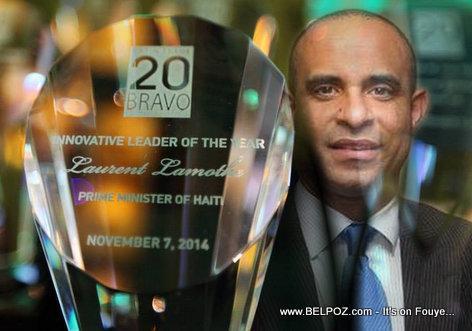 PHOTO: Haiti PM Laurent Lamothe and Wins Bravo Awards 2014