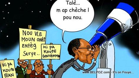 Haiti Caricature - PM Evans Paul ap cheche yon Haitien Onèt Nan La Lune LOL...