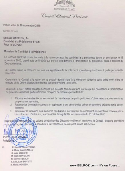 CEP Letter to the 8 presidential candidates from the opposition (G8)