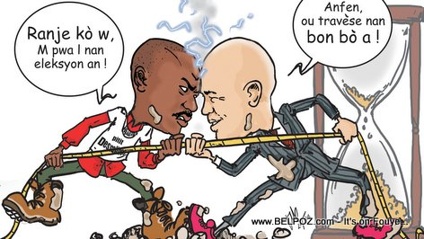 Haiti Caricature - Moise Jean Charles vs Michel Martelly, Haiti Elections 2015