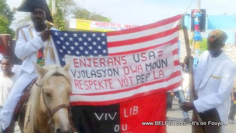 US FLAG in Haiti Human Rights March