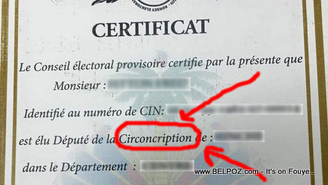 PHOTO: Haiti Depute Certificate with a Mistake in it