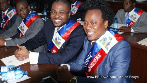 PHOTO: Haiti - Depute Caleb Desrameaux, Depute (now Senator) Gracia Delva  50eme Legislature