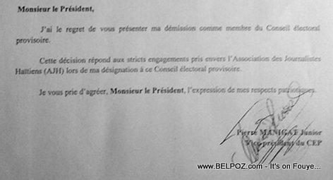 Lettre de démission de Pierre Manigat Jr