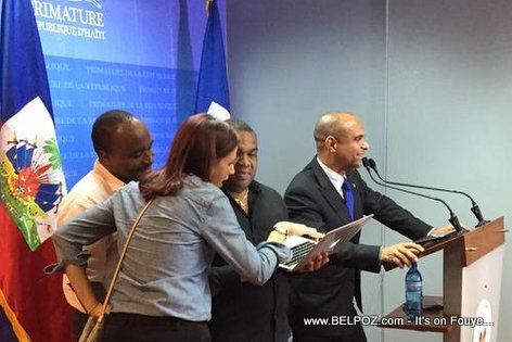 PM Laurent Lamothe rehearsing his speech... What is this man about to say?