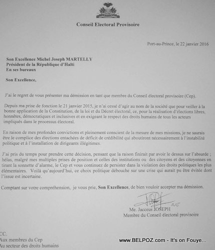 Haiti CEP - Lettre Demission Jacceus Joseph