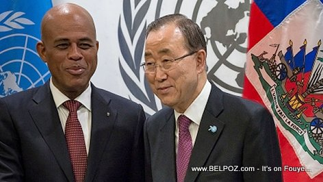 PHOTO: Haiti President Martelly and Ban Ki-moon
