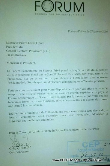 Letter asking Pierre Louis OPONT to Resign from CEP