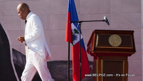 President Martelly walking away from the pulpit