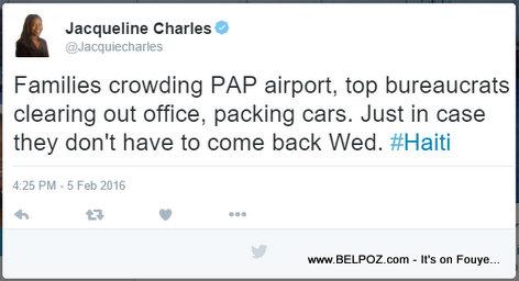 Haiti Politics - Families crowding Port-au-Prince Airport, top bureaucrats clearing out office