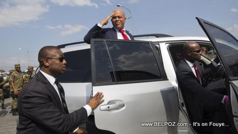 Haiti President Michel Martelly Salutes his Supporters the Day he Leaves Office