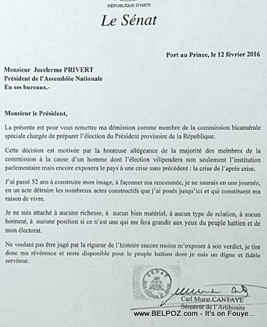 PHOTO: Haiti - Senateur Carl Murat Cantave Lettre de Demission