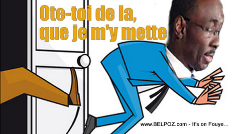 Cartoon - Haiti Evans Paul being Kicked out of the La Primature