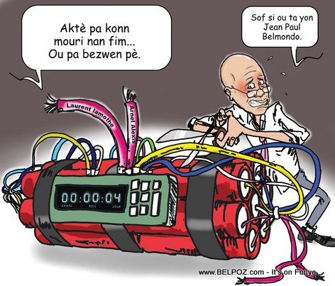 PHOTO: Haiti Caricature - President Martelly, Bonm 12 Janvier a pwal Eksploze...