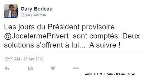 Haiti - Gary Bodeau Twitter: Les Jours de Jocelerme Privert sont Comptés