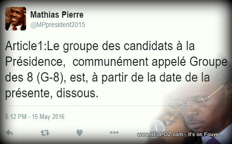 PHOTO: Haiti - Mathias Pierre Tweets Groupe des 8 (G-8) est dissous