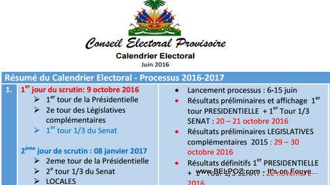 Haiti CEP - Calendrier Electoral - Juin 2016