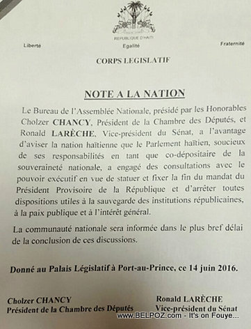 Haiti Lettre : Corps Legislatif Note a la Nation - Fin du Mandat du President Privert