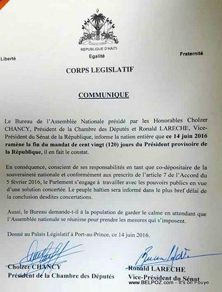 Haiti Lettre : Corps Legislatif Communique - Fin du Mandat du President Privert