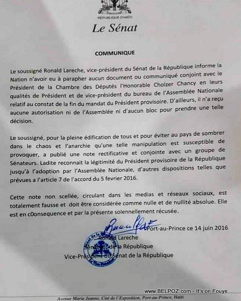 Haiti Lettre: Communique - Senateur Lareche di li PAT Siyen Note ki di Mandat Privert FINI...