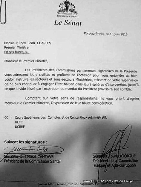 Haiti Lettre: Senateur Youri Latortue, Senateur Cantave ecrit Premier Ministre Enex