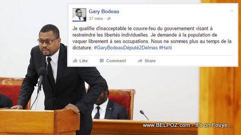 Depute Gary Bodeau bay Position li sou zafè Couvre-Feu a