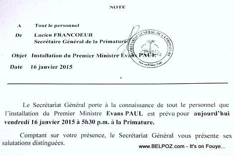 Haiti Correspondence: Installation Premier Ministre Evans Paul