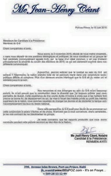 Haiti Lettre : Jean Henry Ceant:  Je me vois contraint de me désolidarise du groupe (G-8)