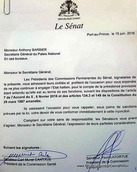 Haiti Lettre: Senateur Youri Latortue a Anthony Barbier, Palais National