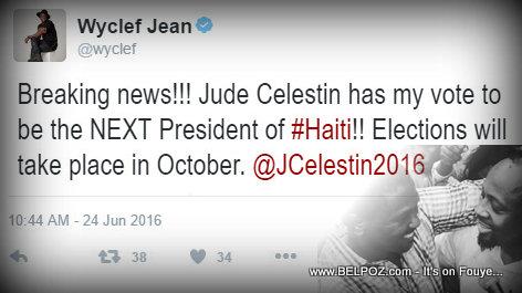 Wyclef Jean Endorses Jude Celestin