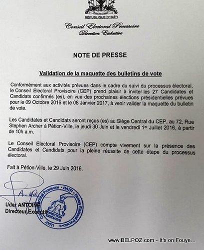 Haiti CEP Note - Validation de la maquette des bulletins de Vote