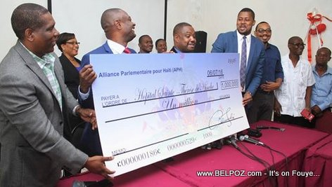 PHOTO: Haiti - APH Deputes 1 Million Gourdes Check to Hospital Sainte Therese de Hinche