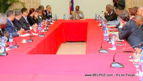 PHOTO: Haiti President Jocelerme Privert meeting economic and financial sector - National Palace