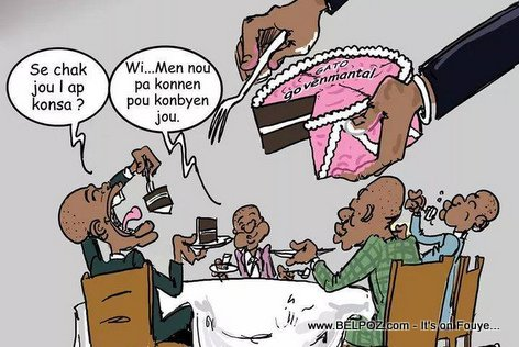 Haiti Caricature - Gato Gouvèmantal la ap Separe, Sa ki jwen yo ap manje vant deboutonnen