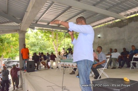 Depute Rony Celestin Speaking at a PHTK Pre-Campaign Meeting - Hinche Haiti