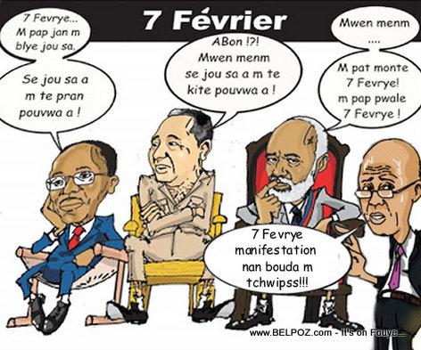 Haiti Caricature - 7 Fevrier pou Aristide, Preval, Duvalier ak Martelly
